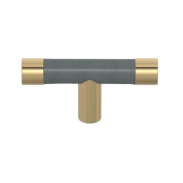 Turnstyle Design T-bar - Skifergråt læder / Poleret messing - Model R1198