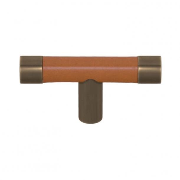 Uchwyt do mebli - Jasnobrązowa skóra / Mosiądz antyczny - Turnstyle Designs - Model R1198