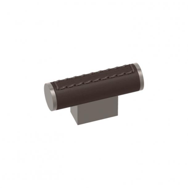 Turnstyle Designs T-bar - Chokladfärgat läder / Satin nickel - Model R4150