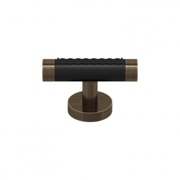 T-bar - Møbelgreb - Sort læder og Antik bronze - Model R1026