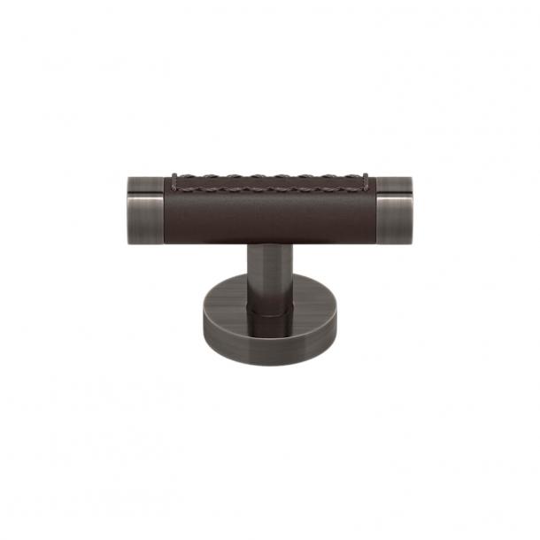 Uchwyt meblowy - T-bar - Czekoladowa skóra i postarzany nikiel - Model R1026