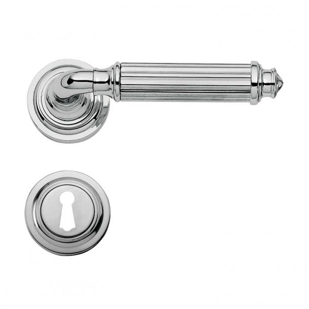 Klamka do drzwi - Chrom - Rozeta pod klucz - Włochy - XX wiek - C15111