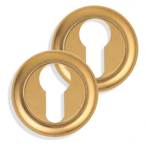 Cylinder ring - Drop shaped lock (PZ lock) with cover in brass - Ø50mm