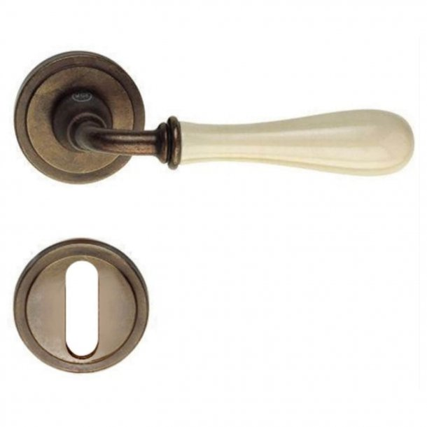 Door handle H1004 Antares, Interior, Browned Brass/Ivory