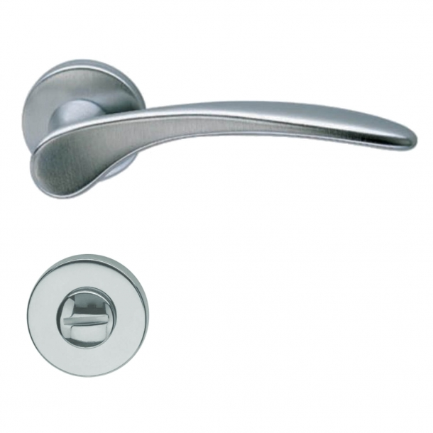 Door handle with privacy lock - Interior - Satin Chrome - Model H198 Mizar