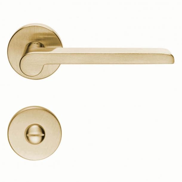 Klamka drzwiowa H1054 W.W. - Wnętrze - mosiądz satynowy - blokada prywatności