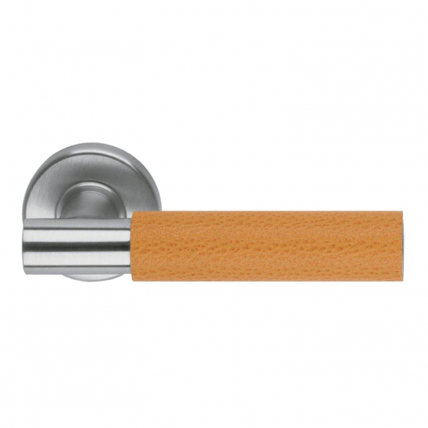 Design-Türgriff H5015, gebürsteter Stahl / orangefarbenes Leder
