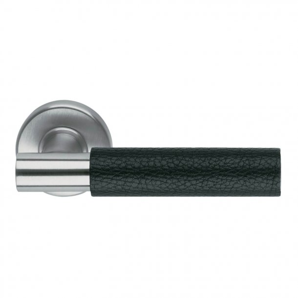 Design door handle H5015, Satin Stainless Steel/Black Leather